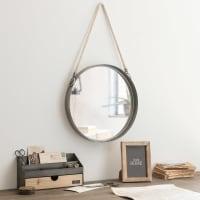 Specchio rotondo da appendere con corda in metallo 40 cm Belmont
