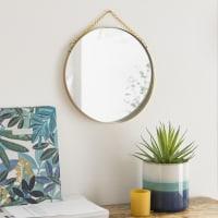 Specchio rotondo da appendere in metallo dorato, 26 cm Kirsten