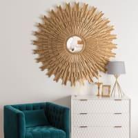 Specchio rotondo dorato anticato, 138 cm Irina