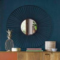 Specchio rotondo in fili di metallo nero, d. 100 cm Milane