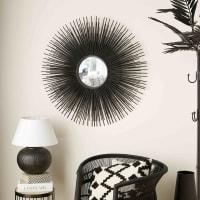 Specchio rotondo nero in metallo D.101 cm Massala