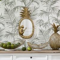 Spiegel Ananas und Affe mit goldenem Rahmen 24x50 Loma