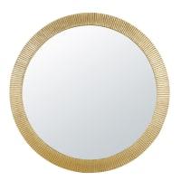 CAYENNE - Spiegel aus geriffeltem goldfarbenem Metall, D100cm