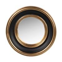 VICTORIA - Spiegel aus Polyresin, goldfarben und schwarz, D12cm