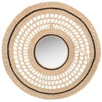 ILOHA - Spiegel aus Seebinsen, schwarz und beige, D60cm