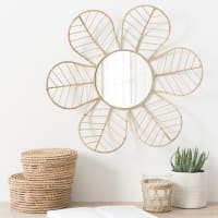 Spiegel in Blütenform mit Rattanrahmen D43 Petale