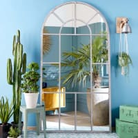 LOIRE - Spiegel in Fensteroptik mit grauem Metallrahmen 109x206