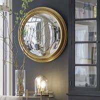 Spiegel, konvex mit Rahmen aus Paulownienholz und goldfarbenem Metall in Antikoptik D88 Calliope