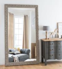 ALIENOR - Spiegel mit beigefarbenem Schnitzrahmen 120x210