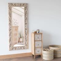LOMBOK - Spiegel mit geschnitztem Mangoholzrahmen 54x130