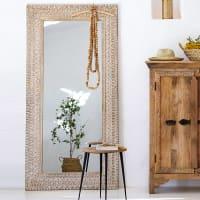 Spiegel mit geschnitztem Rahmen, weiß pigmentiert 91x183 Laos