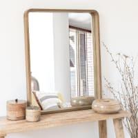 ELIJA - Spiegel mit Rahmen aus braunem Paulownienholz 78x63