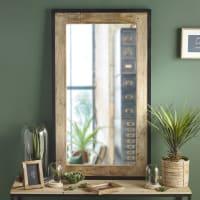 Spiegel mit Rahmen aus Mangoholz und schwarzem Metall 70x120 Miles