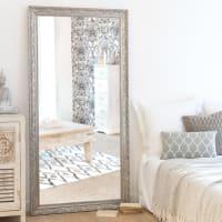 Spiegel mit Rahmen aus silberfarbenem Paulownienholz 90 x 180 Valentine