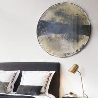 Spiegel rund, Antikoptik, schwarzer Metallrahmen D.108 Wabi Sabi