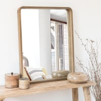 ELIJA - Spiegel van bruin paulowniahout 78x63