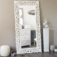 Spiegel van uitgesneden mangohout 90x180