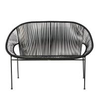 Stackable 2/3-seater garden bench in resin string and black metal Copacabana