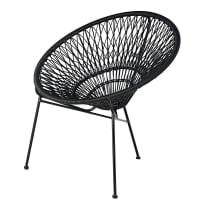 Stackable garden armchair in resin string and black metal Itapema