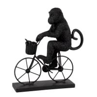 Statuetta scimmia e bici nera, Alt. 21 cm