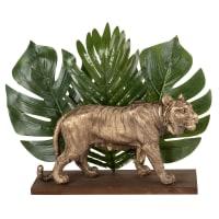 Statuetta tigre e foglie, 25 cm