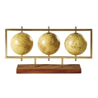 Statuette 3 globes terrestres en métal doré L49 New World