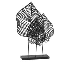 LEAVA - Statuette feuilles en métal noir et vert H42