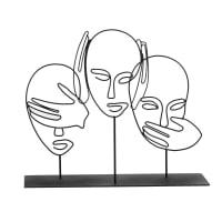 SAGESSE - Statuette filaire en métal noir H25