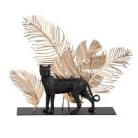 JUNGLE - Statuette léopard noire et feuilles en métal doré H17