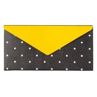 Stickers busta gialla e nera motivi a pois