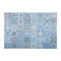 Stoffteppich mit blauem Zementfliesen-Muster 155x230cm Capri
