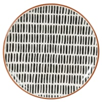 ELLY - Set of 6 - Stoneware dinner plate with ecru and black line print