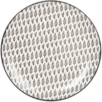 CLEMENCE - Set of 6 - Stoneware dinner plate with white and charcoal grey graphic print