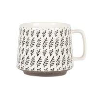 CLEMENCE - Set of 2 - Stoneware mug with grey and khaki green graphic print