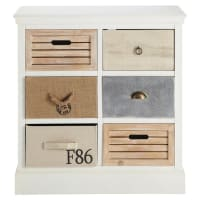 Storage Cabinet with 6 drawers in white Ouessant