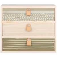 Storage in beige, olive green and grey with 3 drawers