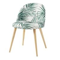 Stuhl, bedruckt mit Palmenblättermotiv, massives Birkenholz Mauricette