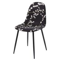 Stuhl in skandinavischem Stil, schwarz mit Blumenmotiv Clyde