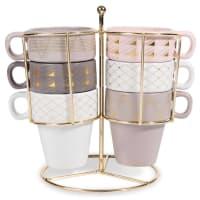Support 6 tasses à café en faïence colorée Modern Copper