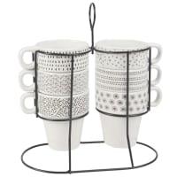Support 6 tasses en faïence motifs graphiques noirs et blancs Mona