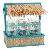 Support cabane avec 6 verres imprimé tropical Carnet Voyage