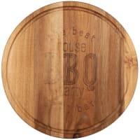 BBQ PARTY - Tabla de cortar redonda para barbacoa de madera de acacia