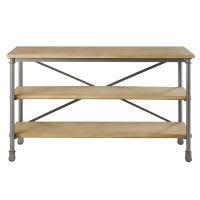 Table console à roulettes en métal et manguier massif noire L 130 cm Archibald
