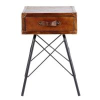 Table de chevet 1 tiroir en cuir marron et métal noir Sullivan