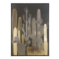 Tableau imprimé cactus noir et doré 105x145 Wild Cactus