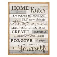 Tableau imprimé gris et marron 50x65 Home Rules