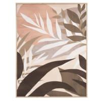 OLIVEIRA - Tableau imprimé végétal vert, gris, beige et rose 62x82