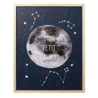 Tableau lumineux imprimé lune et étoiles 40x50 Galaxy