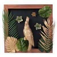 Tableau perroquet doré 48x48 Parrot