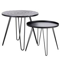 CARIOCA - Tables basses de jardin en faïence à motifs et métal noir (x2)